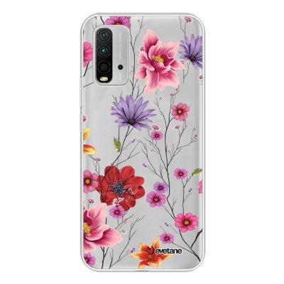 Coque Xiaomi Redmi 9T 360 intégrale transparente Fleurs Multicolores Tendance Evetane.