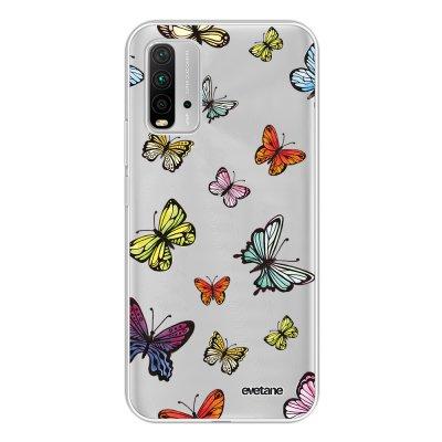 Coque Xiaomi Redmi 9T 360 intégrale transparente Papillons Multicolors Tendance Evetane.