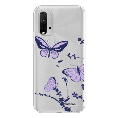 Coque Xiaomi Redmi 9T 360 intégrale transparente Papillons Violets Tendance Evetane.