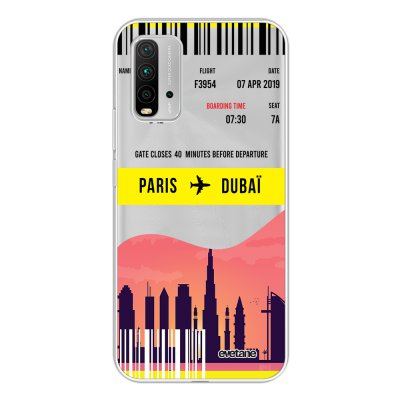 Coque Xiaomi Redmi 9T 360 intégrale transparente Blllet Paris-Dubaî Tendance Evetane.