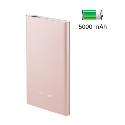 Batterie de secours 5 000 mAh finition métal rose gold