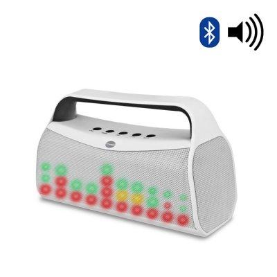 Haut-parleur Bluetooth + Radio FM + Microphone intégré + LED - Blanc
