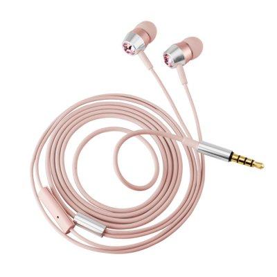 Écouteurs intra-auriculaires en cristal avec microphone & télécommande - Rose gold
