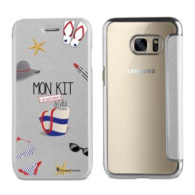 Etui folio argent avec coque arrière souple Kit De Survi pour Samsung Galaxy S6