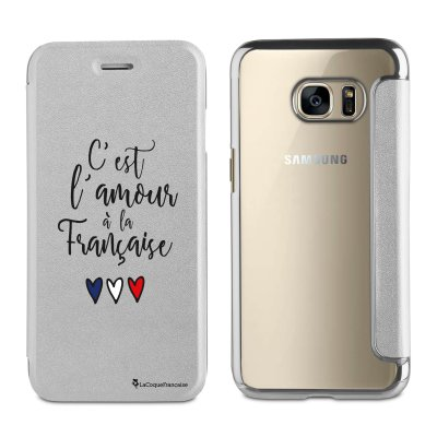 Etui folio argent avec coque arrière souple C'est L'Amour A La Française pour Samsung Galaxy S6