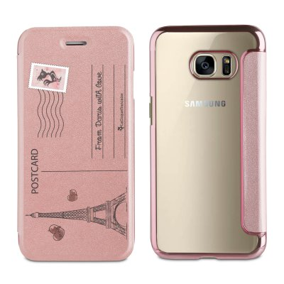 Etui folio rose gold avec coque arrière souple Carte Postale pour Samsung Galaxy S6