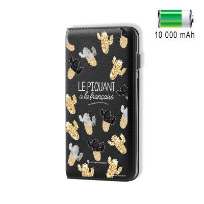 Batterie externe 10 000 mAh aspect cuir Le Piquant A La Française - Noir