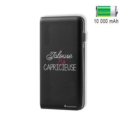 Batterie externe 10 000 mAh aspect cuir Jalouse & Capricieuse - Noir