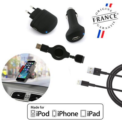 Pack charge 5en1 Mfi : chargeurs/câble USB Lightning/câble USB 30 Broches dérouleur + Support voiture universel 360