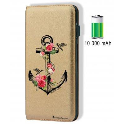 Batterie externe 10 000 mAh aspect cuir Ancre - Or