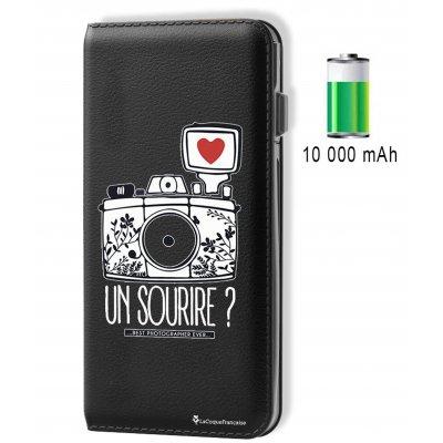 Batterie externe 10 000 mAh aspect cuir Un Sourire - Noir