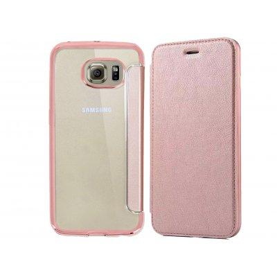 Etui à clapet en simili-cuir avec coque arrière/ bumper Rose Gold pour Samsung Galaxy S6 Edge