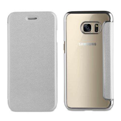 Etui folio argent avec coque arrière souple pour Samsung Galaxy S6 Edge