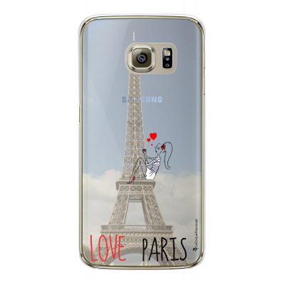Coque rigide transparent Love Paris Samsung Galaxy S6