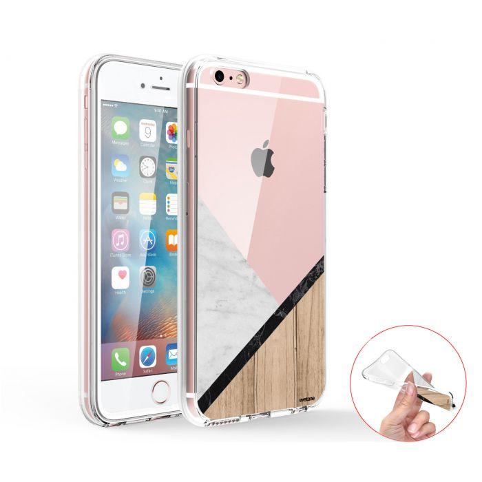 coque integrale 360 souple transparent marbre et bois graphique iphone 6 6s