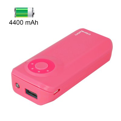 Batterie de secours URBAN FACTORY 4400 mAh avec lampe LED - Rose Coraille