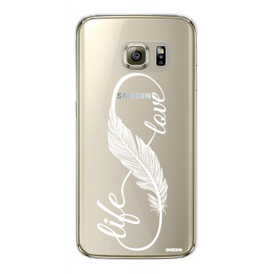 Coque rigide transparent Love life BLANC Samsung Galaxy S6