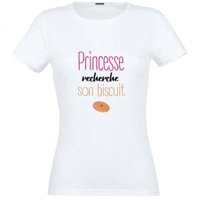 T-Shirt femme blanc Princesse Recherche Son Biscuit - Taille L
