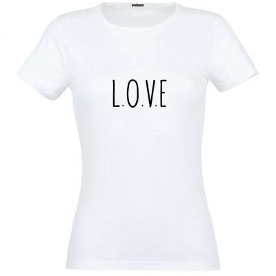T-Shirt femme blanc L.O.V.E  - Taille L