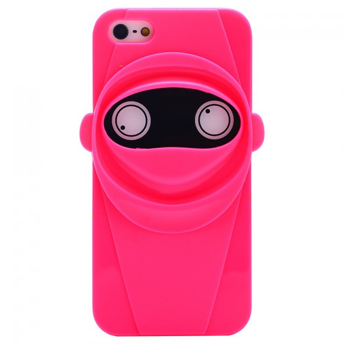 coque souple en tpu ninja rose fluo pour iphone 5 5s