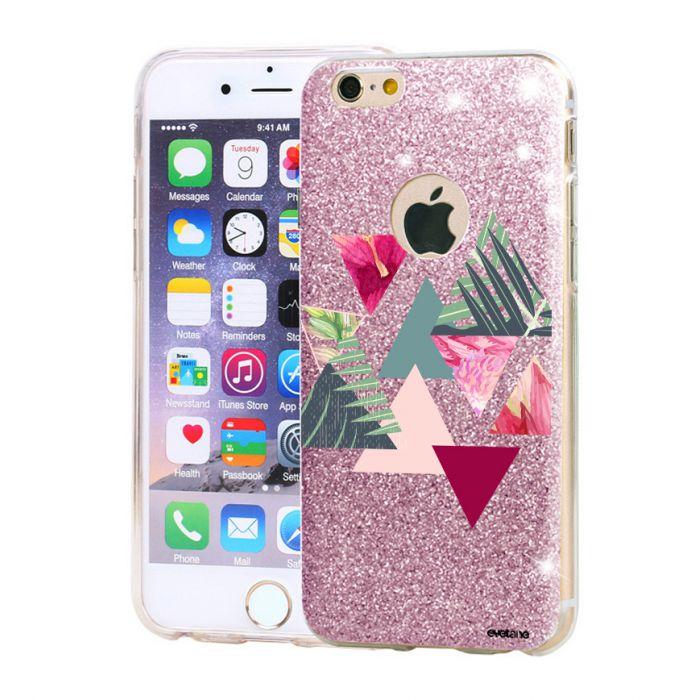 Coque souple paillettes iPhone 6/6S paillettes rose Triangles Jungle Motif Ecriture Tendance Evetane - Coquediscount