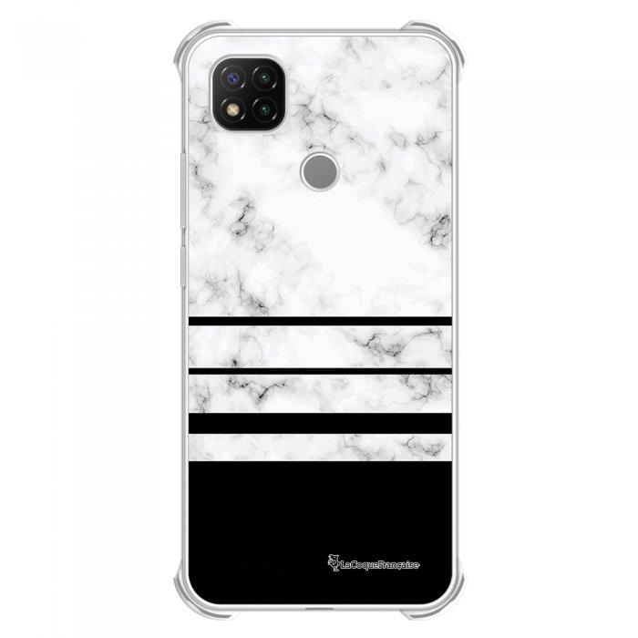 Coque Xiaomi Redmi 9C anti-choc souple angles renforcés transparente Trio marbre Blanc La Coque Francaise