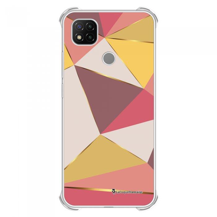 Coque Xiaomi Redmi 9C anti-choc souple angles renforcés transparente Triangles roses La Coque Francaise
