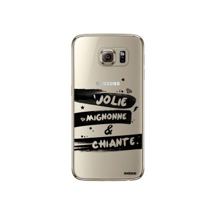 Coque Samsung Galaxy S6 Edge souple transparente Jolie Mignonne et chiante Motif Ecriture Tendance Evetane. - Coquediscount