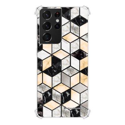 Coque Samsung Galaxy S21 Ultra 5G anti-choc souple angles renforcés transparente Carrés marbre La Coque Francaise