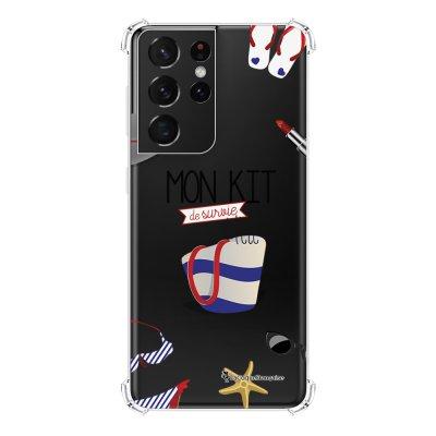 Coque Samsung Galaxy S21 Ultra 5G anti-choc souple angles renforcés transparente Mon kit de survie de l'été La Coque Francaise