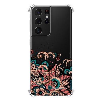 Coque Samsung Galaxy S21 Ultra 5G anti-choc souple angles renforcés transparente Cachemire bleu corail La Coque Francaise