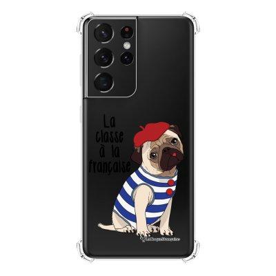 Coque Samsung Galaxy S21 Ultra 5G anti-choc souple angles renforcés transparente Chien Marinière La Coque Francaise