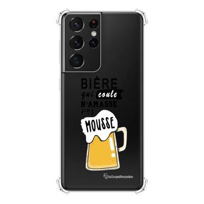 Coque Samsung Galaxy S21 Ultra 5G anti-choc souple angles renforcés transparente Bière qui Coule La Coque Francaise