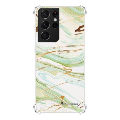 Coque Samsung Galaxy S21 Ultra 5G anti-choc souple angles renforcés transparente Marbre Vert La Coque Francaise