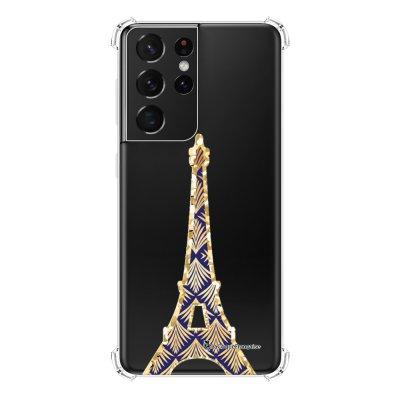 Coque Samsung Galaxy S21 Ultra 5G anti-choc souple angles renforcés transparente Tour Eiffel Art Déco La Coque Francaise