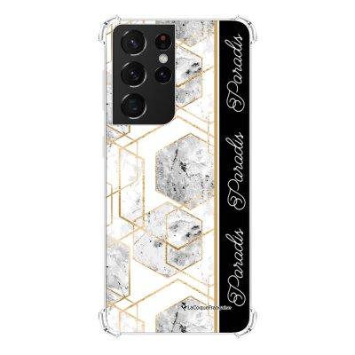 Coque Samsung Galaxy S21 Ultra 5G anti-choc souple angles renforcés transparente Marbre Noir Paradis La Coque Francaise