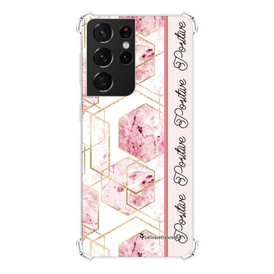 Coque Samsung Galaxy S21 Ultra 5G anti-choc souple angles renforcés transparente Marbre Rose Positive La Coque Francaise
