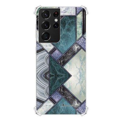 Coque Samsung Galaxy S21 Ultra 5G anti-choc souple angles renforcés transparente Marbre Bleu Vert La Coque Francaise