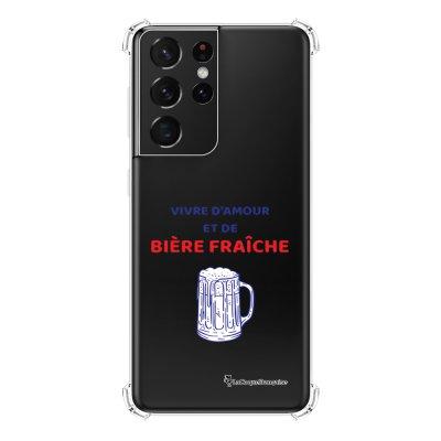 Coque Samsung Galaxy S21 Ultra 5G anti-choc souple angles renforcés transparente Vivre amour et Biere La Coque Francaise
