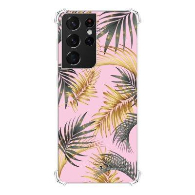 Coque Samsung Galaxy S21 Ultra 5G anti-choc souple angles renforcés transparente Feuilles de palmier rose La Coque Francaise