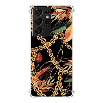 Coque Samsung Galaxy S21 Ultra 5G anti-choc souple angles renforcés transparente Fleurs et Chaines La Coque Francaise