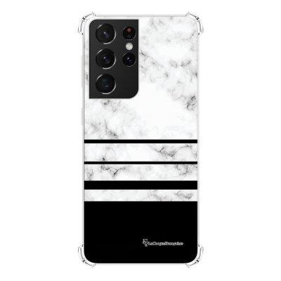Coque Samsung Galaxy S21 Ultra 5G anti-choc souple angles renforcés transparente Trio marbre Blanc La Coque Francaise