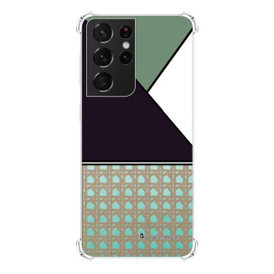 Coque Samsung Galaxy S21 Ultra 5G anti-choc souple angles renforcés transparente Canage vert La Coque Francaise