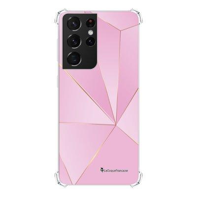 Coque Samsung Galaxy S21 Ultra 5G anti-choc souple angles renforcés transparente Rose géométrique La Coque Francaise