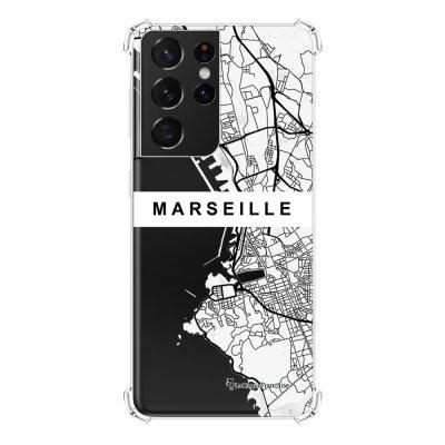 Coque Samsung Galaxy S21 Ultra 5G anti-choc souple angles renforcés transparente Carte de Marseille La Coque Francaise