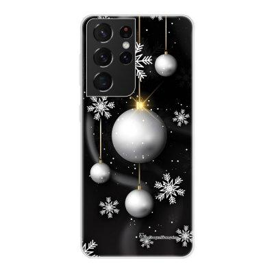 Coque Samsung Galaxy S21 Ultra 5G 360 intégrale transparente Boules Etoiles Noel neiges Tendance La Coque Francaise.