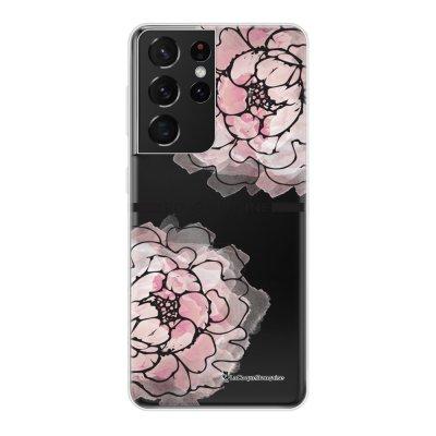 Coque Samsung Galaxy S21 Ultra 5G 360 intégrale transparente Rose Pivoine Tendance La Coque Francaise.