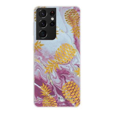 Coque Samsung Galaxy S21 Ultra 5G 360 intégrale transparente Marbre Ananas Or Tendance La Coque Francaise.
