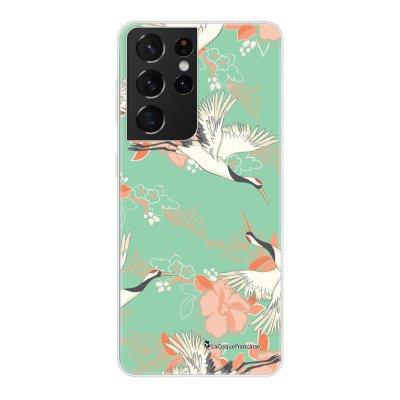 Coque Samsung Galaxy S21 Ultra 5G 360 intégrale transparente Grues fleuries Tendance La Coque Francaise.