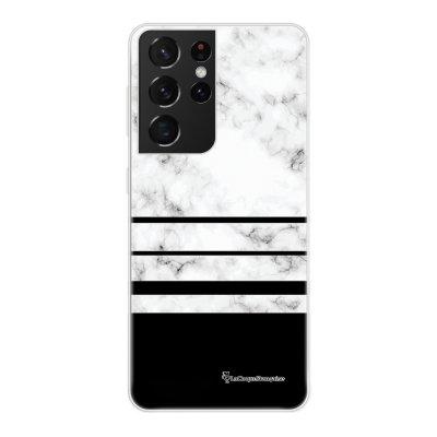 Coque Samsung Galaxy S21 Ultra 5G 360 intégrale transparente Trio marbre Blanc Tendance La Coque Francaise.